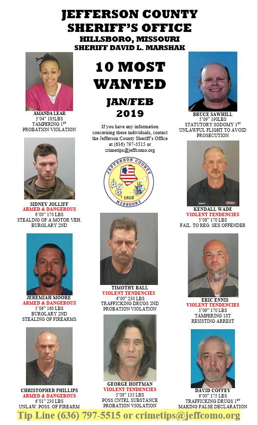 Top 10 Most Wanted | Jefferson Co Sheriff's Dept, MO